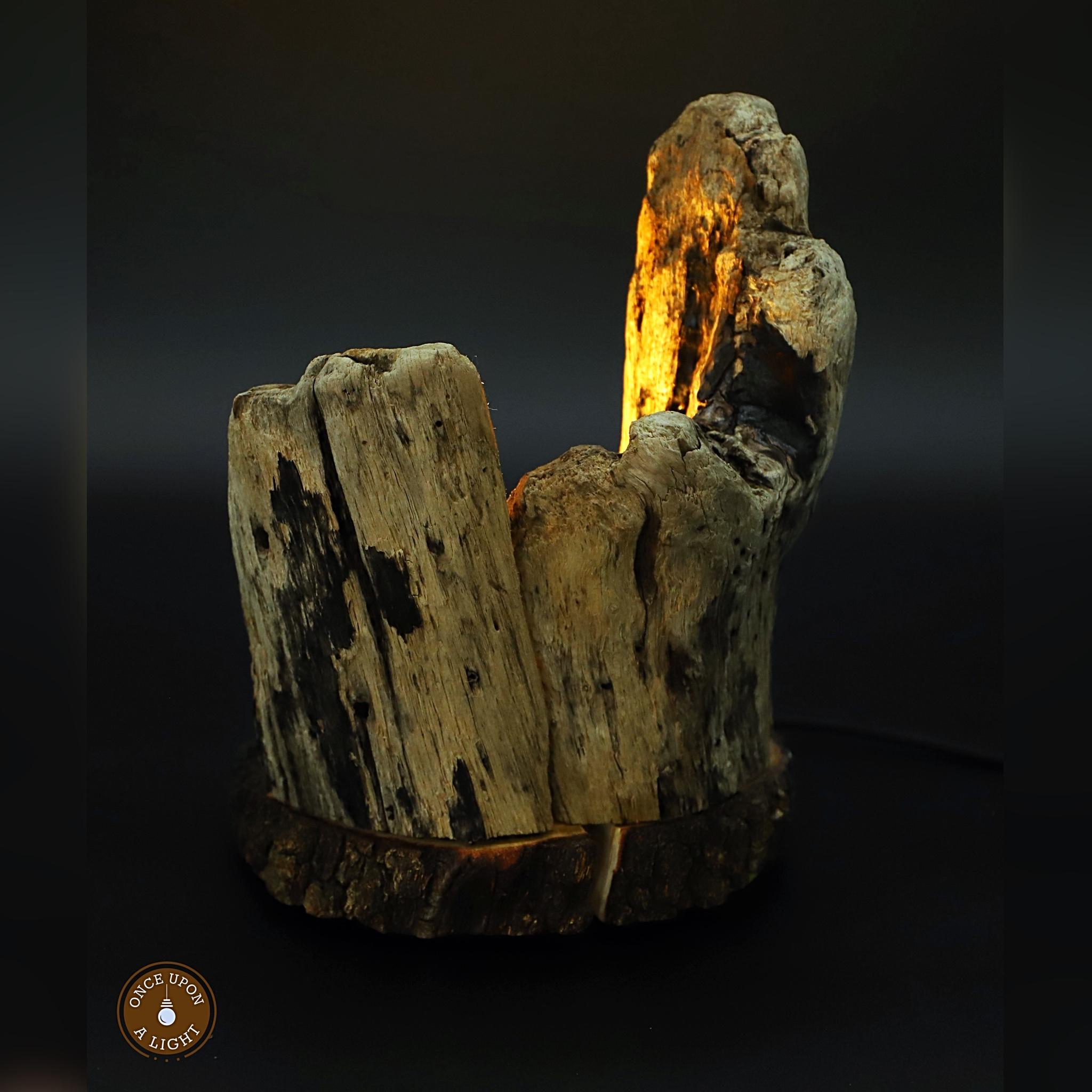 Lampe led en bois flotté