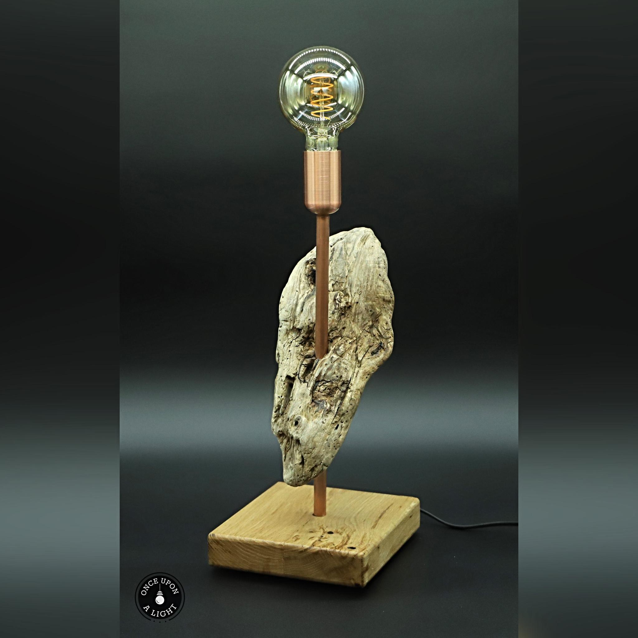 Lampe de table bois, bois flotté et cuivre avec ampoule led